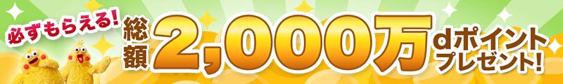 必ずもらえる!総額2000万円dポイントプレゼント!dマーケットマスターチャレンジ特別企画