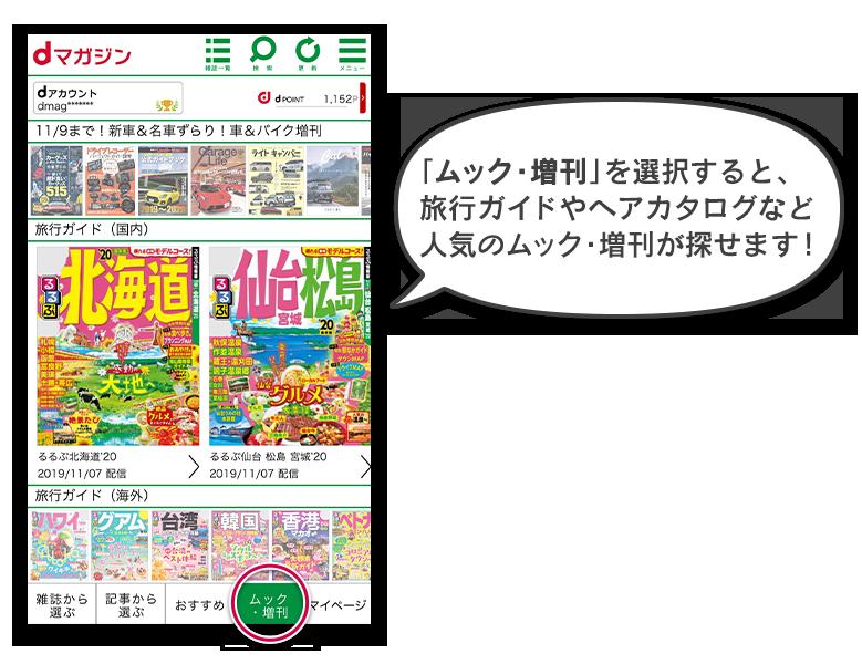 「ムック・増刊」を選択すると、旅行ガイドやヘアカタログなど人気のムック・増刊が探せます!