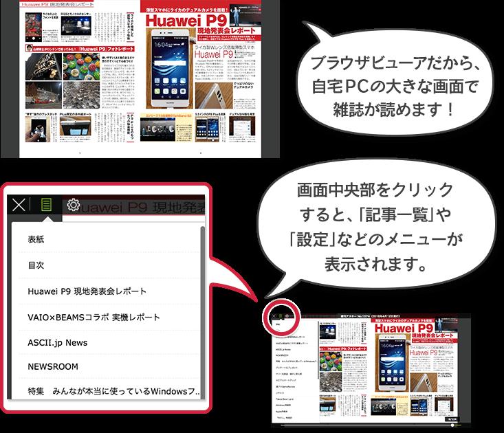 ブラウザビューアだから、自宅PCの大きな画面で雑誌が読めます!画面中央部をクリックすると、「記事一覧」や、設定などのメニューが表示されます。